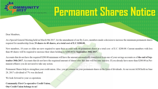 Minimum Permanent Shares requirement for membership is E.C. $200.00